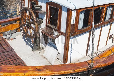 Sailing Ship Bow Fragment With Steering Wheel