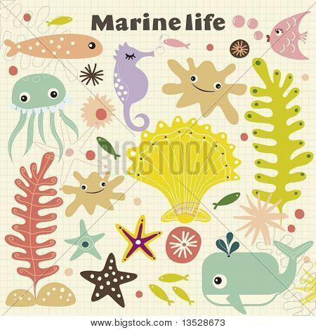 vector cute marinelife