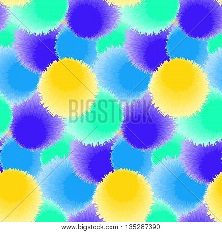 Seamless pattern with bright fluffy circles. Vector illustration