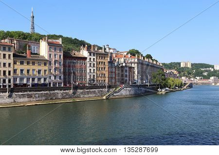 LYON, FRANCE - MAY 24. 2015: This is embankment of the river Saone in the hill de Fourviere.