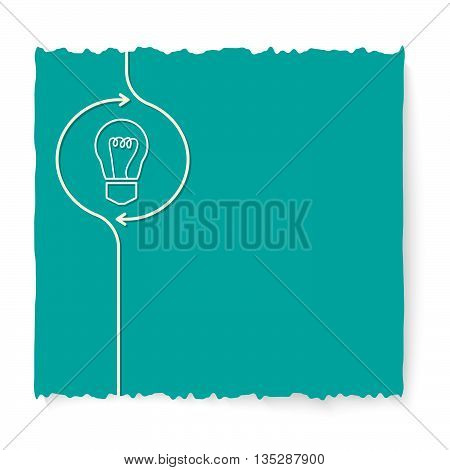 Green slip of paper and icon of bulb