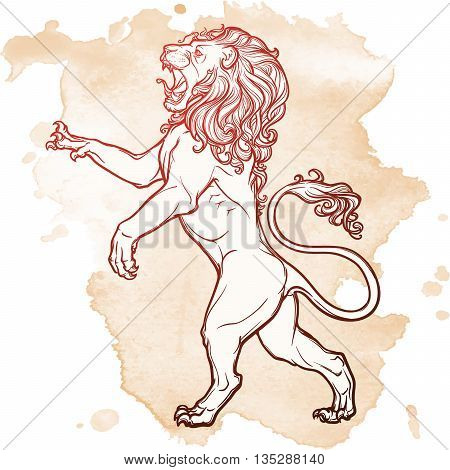Lion stanging on it's hind legs and roaring. Heraldic supporter. Sketch on grunge background. EPS10 vector illustration.