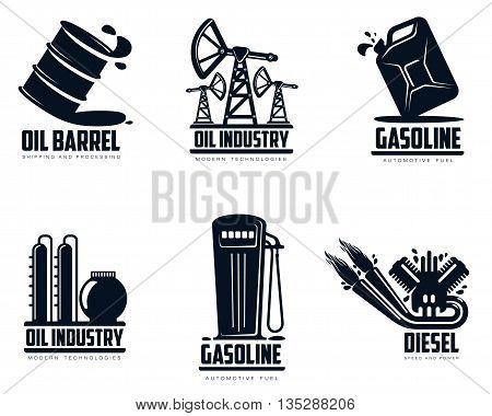 set of logos with oil and petrol station, minimalistic vector illustration isolated on white background, combustion and oil production, transportation of oil and gasoline