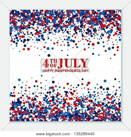 4th of July festive greeting card on scatter circles background.