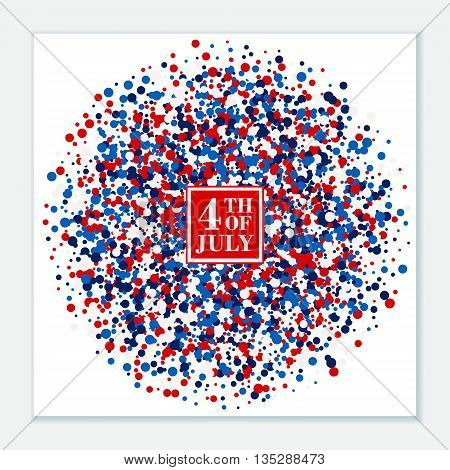 4th of July festive banner on scatter circles background.