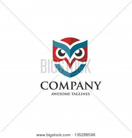 creative owl shield logo vector design template