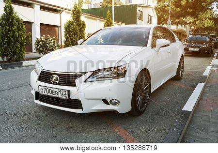 SOCHI RUSSIA - APRIL 29 2016: Lexus IS 250 parked on the streets of Sochi. Lexusi is among the best-selling luxury japanese automobiles in the world.