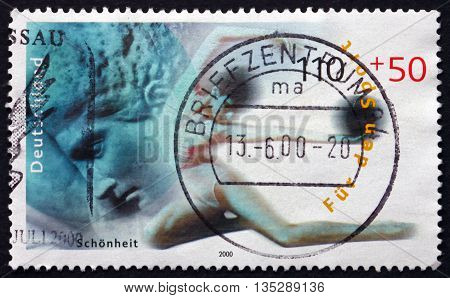 GERMANY - CIRCA 2000: a stamp printed in the Germany shows Ancient Art and Gymnast Beauty circa 2000