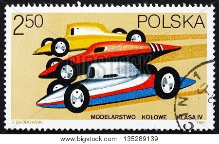POLAND - CIRCA 1981: a stamp printed in the Poland shows Racing Car Models circa 1981