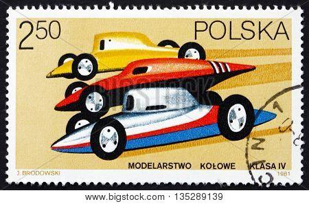 POLAND - CIRCA 1981: a stamp printed in the Poland shows Racing Car Models circa 1981