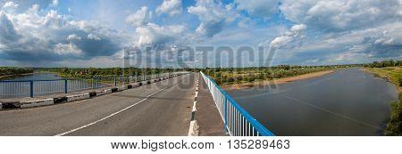 Bridge in Starorussky district Novgorod Region on the River Lovat. Panorama