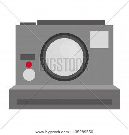 grey photographic polaroid camera vector illustration flat icon style
