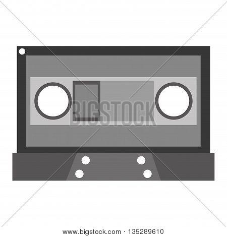 grey cassette vector illustration flat icon style