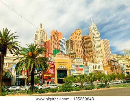 LAS VEGAS, NEVADA, United States of America - MAY 05, 2016: New York - New York Hotel Casino. New York New York is a luxury hotel and casino, located on the Las Vegas Strip