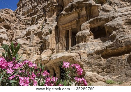 Nabataean Delubrum Of The Siq Al-barid In Jordan. It Is Known As The Little Petra.