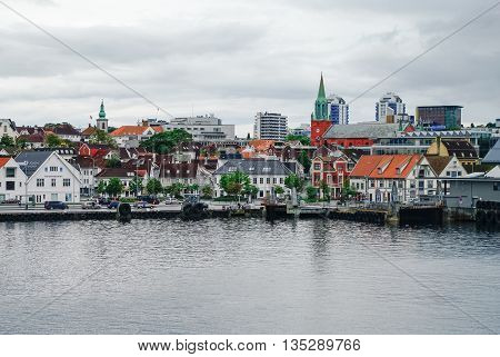 Stavanger, Norway -September 18, 2011: Cityscape of Stavanger down town