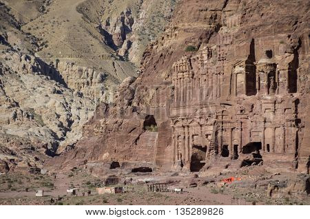 The Palace tomb and the Corinthian tomb two of the Royal Tombs Petra Jordan
