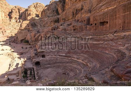View of Theatre in Petra in Jordan