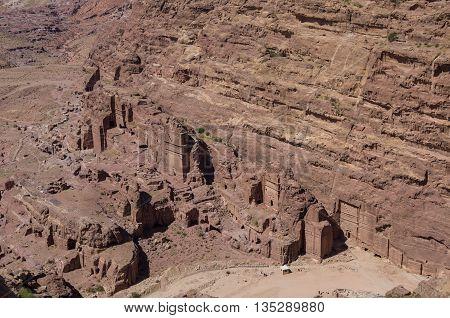 Birds eye view of Royal Tomb from High Place of Sacrifice (Al-Madbah) viewpoint, Petra, Jordan.