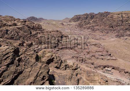 Birds Eye panoramic view Petra in Jordan
