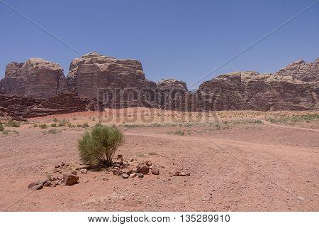 Nature, Desert And Rocks Of Wadi Rum (valley Of The Moon), Jordan. Unesco World Heritage. Panorama