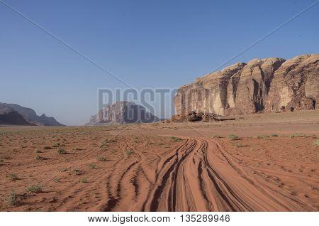 Road Thru Desert And Rocks Of Wadi Rum (valley Of The Moon), Jordan. Unesco World Heritage.