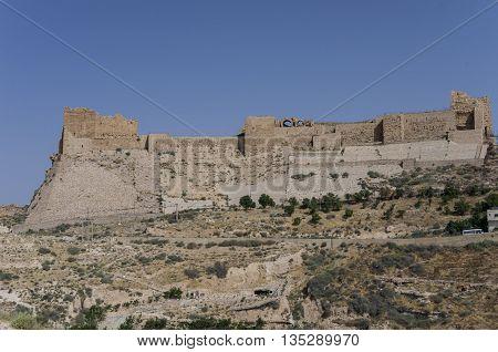 View To The Crusader Castle Kerak (al Karak) In Jordan