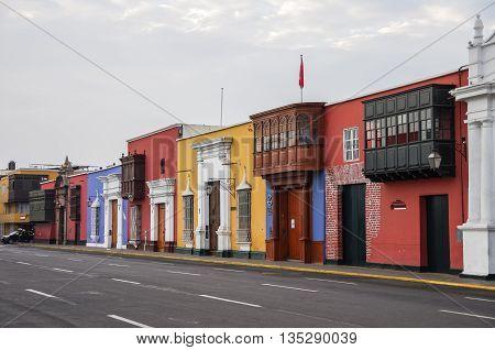 Trujillo, Peru - January 11, 2014: Colorful colonial houses in Trujillo downtown Peru