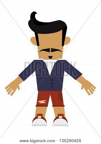 hipster man with mustache and goatee wearing shorts vector illustration