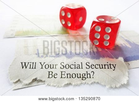 Social Security benefit message with dice and stock chart