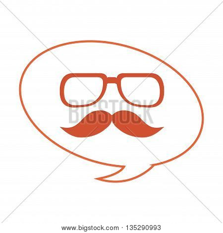 orange classic frame glasses with mustache below inside converstation bubble vector illustration