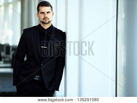 Handsome smiling confident businessman portrait in office