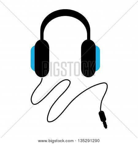 black and blue headphones with cord vector illustration