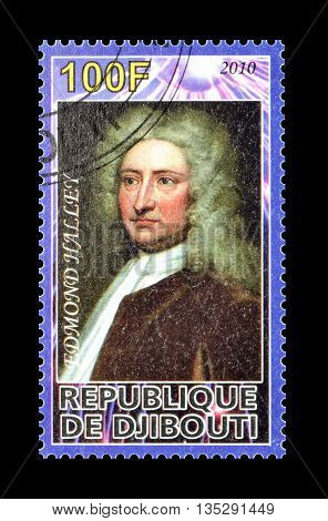 DJIBOUTI - CIRCA 2010 : Cancelled postage stamp printed by Djibouti, that shows Edmond Halley.