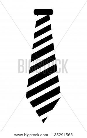 black and white striped necktie vector illustration
