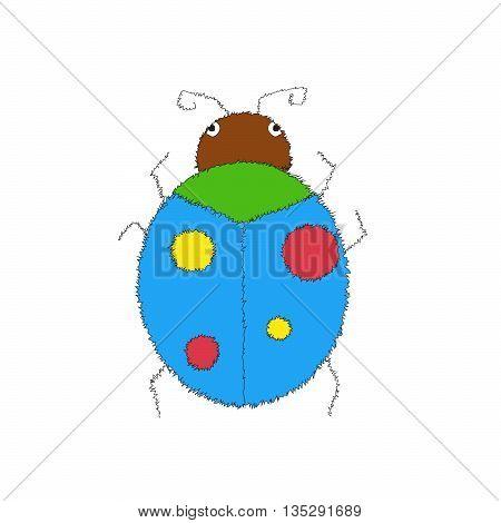 Sketch doodle illustration. hand drawn doodle style hand-drawing blue ladybug on white background