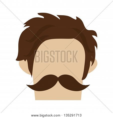 hipster hairstyle with full mustache vector illustration