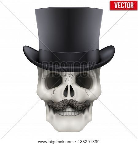 Human skull with black cylinder hat. Vector Illustration on isolated white background