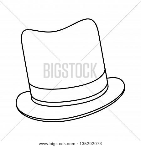 simple black line tophat vector illustration flat icon style