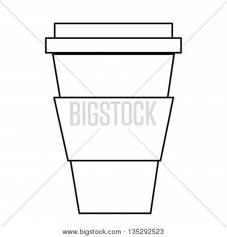 simple black line disposable coffee cup with lid vector illustration