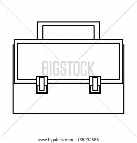 simple black line briefcase with two locks and handle on top vector illustration