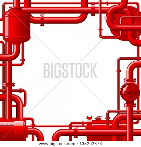 Red gas pipes. Industrial frame and background with pipes. 3D Illustration