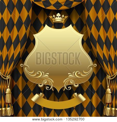 Golden rhomboids background with a gold suspended decorative baroque signboard and crown. Square presentation artistic poster and placard