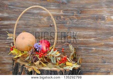 Pumpkin, apples and autumn leaves on a tree stump. Wooden background with the space for your text.
