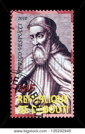 DJIBOUTI - CIRCA 2010 : Cancelled postage stamp printed by Djibouti, that shows Amerigo Vespucci.