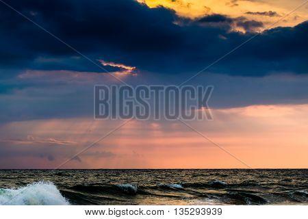 Sunset at Candolim Beach Goa at dusk