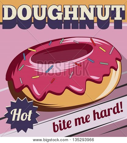 Vintage retro stylized customizable sweet donut with icing poster template. Replace text to customize template for special offer at cafe or bakery, use for any other design purposes.