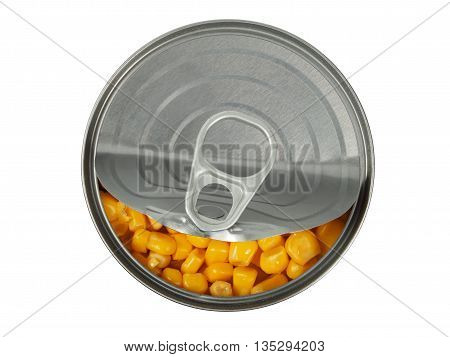 Open can with corn isolated on white