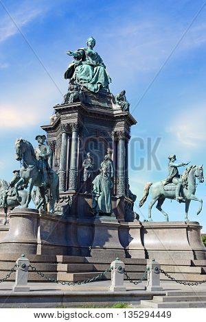 VIENNA, AUSTRIA - August 30, 2015: Maria Theresa monument by sculptor Kaspar von Zumbusch on the square near Historical museum in Vienna on 30 August in Vienna , Austria
