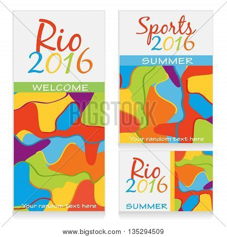 A set of vector banner, flyer, brochure templates with colorful wavy ornament devoted to sports events in rio de janeiro brazil 2016. Add your text to customize template.